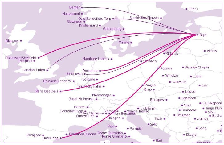 Lety do Španielska, Talianska, Írska a z nich povolené